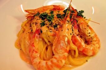 姫島産車海老のスパゲッティ トマトクリームソース